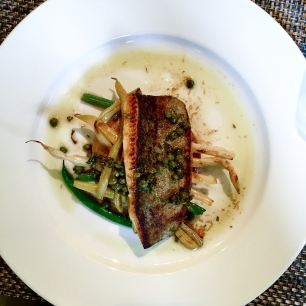 NORTH CAROLINA TROUT MEUNIÈRE roasted fingerling potatoes, haricots verts, capers, brown butter sauce